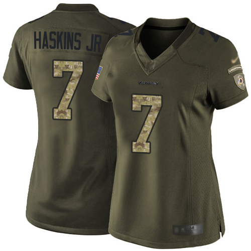 Redskins #7 Dwayne Haskins Jr Green Women's Stitched Football Limited 2015 Salute to Service Jersey