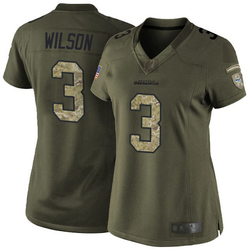 Seahawks #3 Russell Wilson Green Women's Stitched Football Limited 2015 Salute to Service Jersey