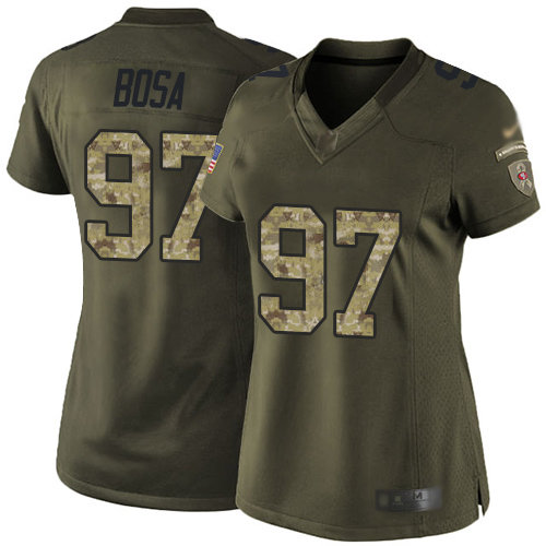 49ers #97 Nick Bosa Green Women's Stitched Football Limited 2015 Salute to Service Jersey