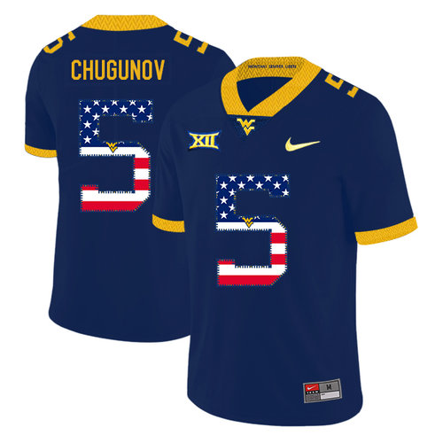 West Virginia Mountaineers 5 Chris Chugunov Navy USA Flag College Football Jersey