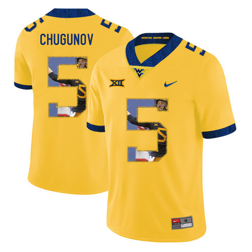 West Virginia Mountaineers 5 Chris Chugunov Yellow Fashion College Football Jersey