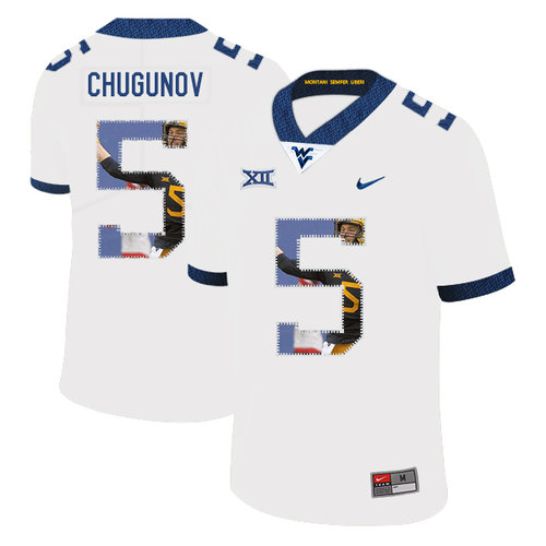 West Virginia Mountaineers 5 Chris Chugunov White Fashion College Football Jersey