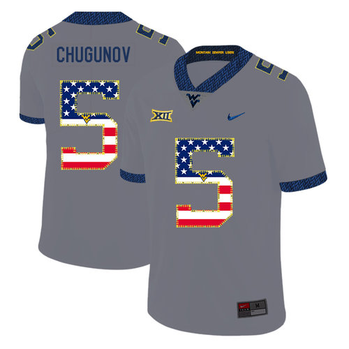 West Virginia Mountaineers 5 Chris Chugunov Gray USA Flag College Football Jersey