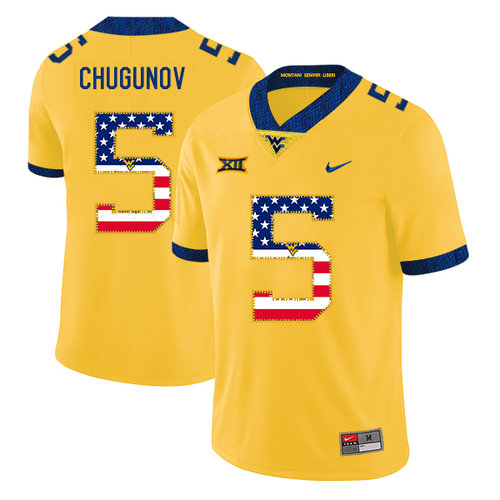 West Virginia Mountaineers 5 Chris Chugunov Yellow USA Flag College Football Jersey