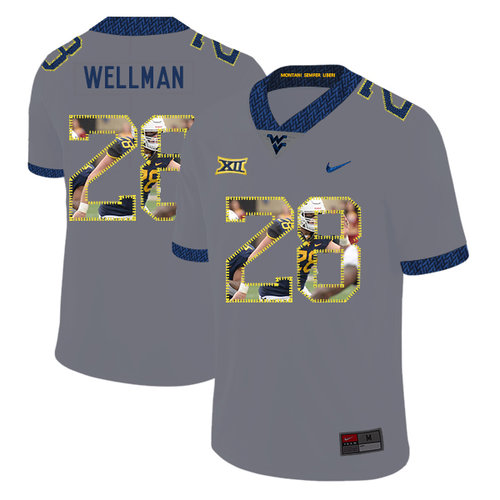 West Virginia Mountaineers 28 Elijah Wellman Gray Fashion College Football Jersey