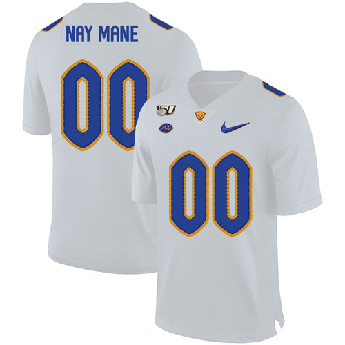 Pittsburgh Panthers Customized White 150th Anniversary Patch Nike College Football Jersey