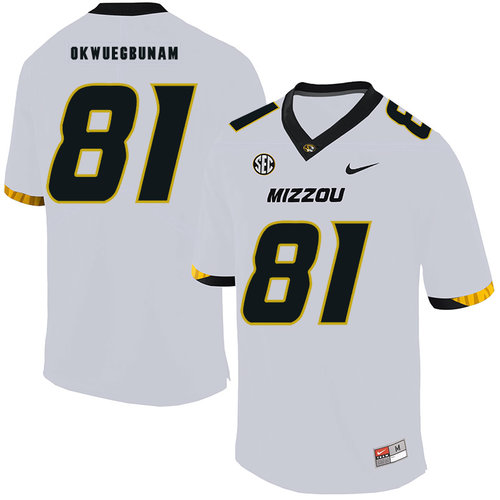 Missouri Tigers 81 Albert Okwuegbunam White Nike College Football Jersey