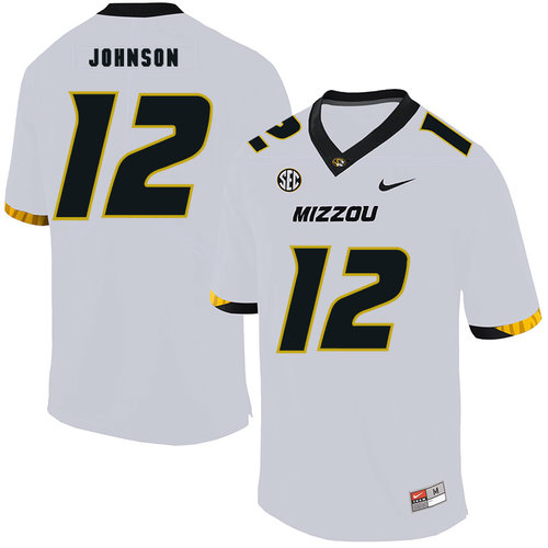 Missouri Tigers 12 Johnathon Johnson White Nike College Football Jersey