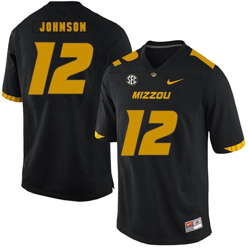 Missouri Tigers 12 Johnathon Johnson Black Nike College Football Jersey