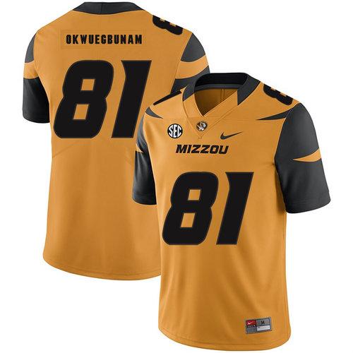 Missouri Tigers 81 Albert Okwuegbunam Gold Nike College Football Jersey