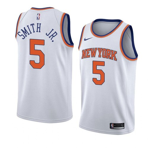 Nike Knicks #5 Dennis Smith Jr. White NBA Swingman Association Edition Jersey