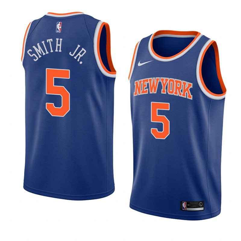 Nike Knicks #5 Dennis Smith Jr.NBA Swingman Blue Icon Edition Jersey