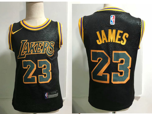 Los Angeles Lakers #23 LeBron James Black Toddlers Jersey