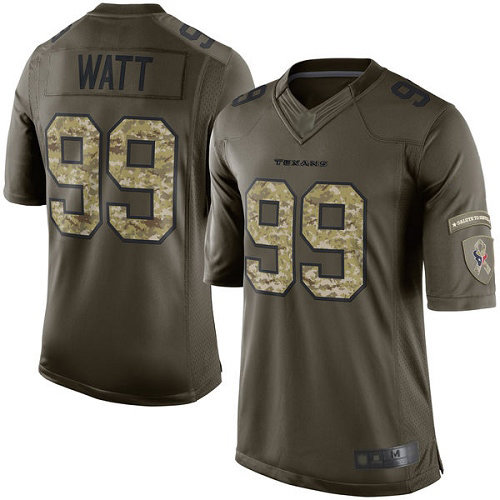 Texans #99 J.J. Watt Green Men's Stitched Football Limited 2015 Salute to Service Jersey