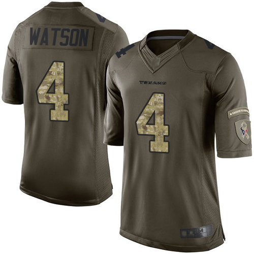 Texans #4 Deshaun Watson Green Men's Stitched Football Limited 2015 Salute to Service Jersey