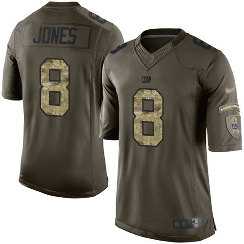 Giants #8 Daniel Jones Green Men's Stitched Football Limited 2015 Salute To Service Jersey