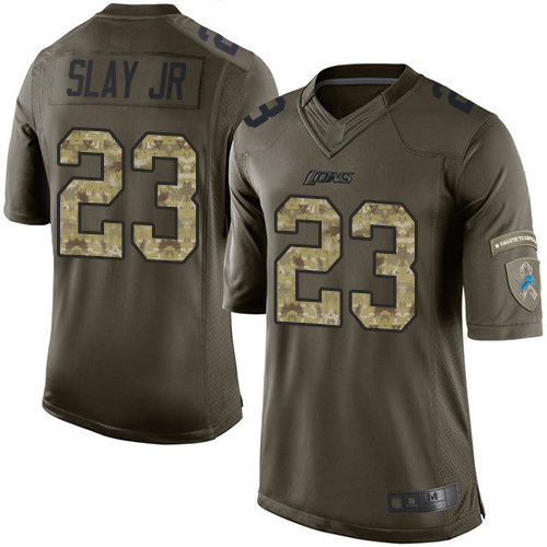 Lions #23 Darius Slay Jr Green Men's Stitched Football Limited 2015 Salute to Service Jersey