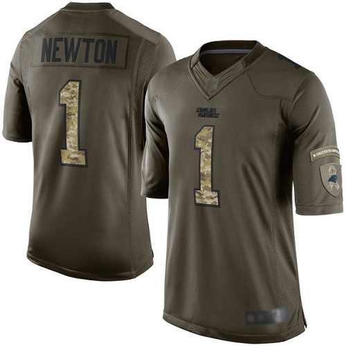 Panthers #1 Cam Newton Green Men's Stitched Football Limited 2015 Salute to Service Jersey