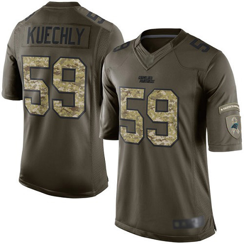 Panthers #59 Luke Kuechly Green Men's Stitched Football Limited 2015 Salute to Service Jersey
