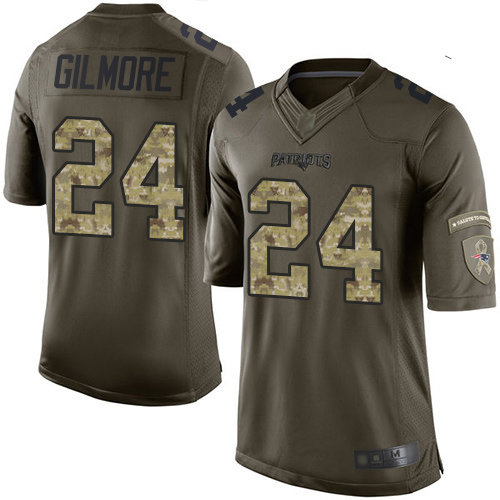 Patriots #24 Stephon Gilmore Green Men's Stitched Football Limited 2015 Salute To Service Jersey