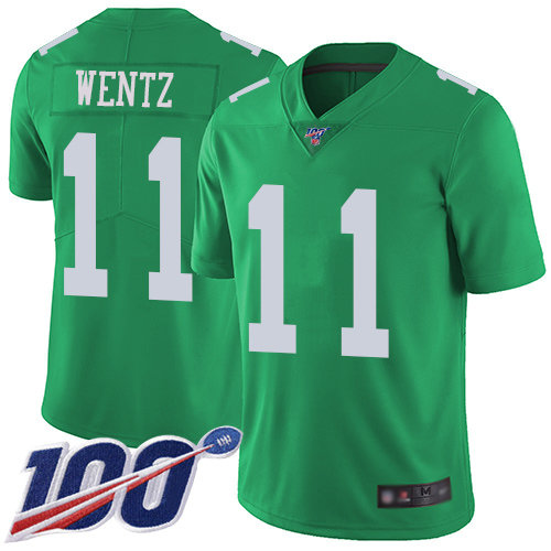 Eagles #11 Carson Wentz Green Men's Stitched Football Limited Rush 100th Season Jersey