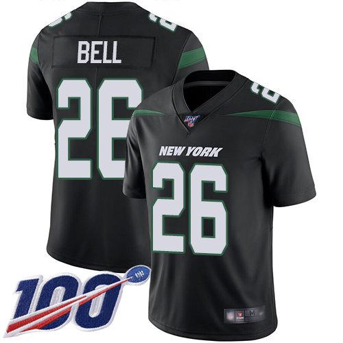 Jets #26 Le'Veon Bell Black Alternate Men's Stitched Football 100th Season Vapor Limited Jersey