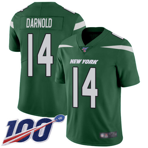 Jets #14 Sam Darnold Green Team Color Men's Stitched Football 100th Season Vapor Limited Jersey