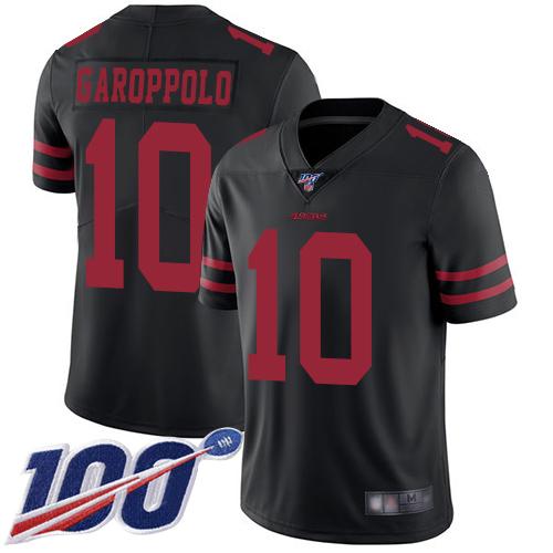 49ers #10 Jimmy Garoppolo Black Alternate Men's Stitched Football 100th Season Vapor Limited Jersey