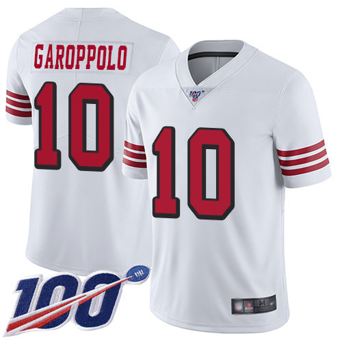49ers #10 Jimmy Garoppolo White Rush Men's Stitched Football Limited 100th Season Jersey