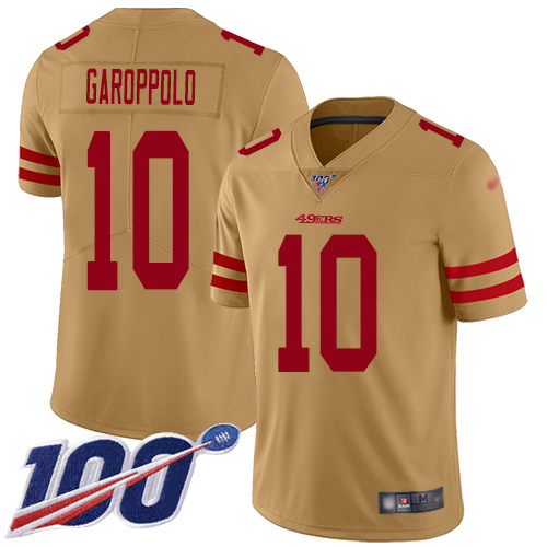 49ers #10 Jimmy Garoppolo Gold Men's Stitched Football Limited Inverted Legend 100th Season Jersey