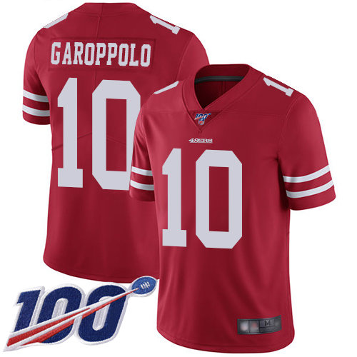 49ers #10 Jimmy Garoppolo Red Team Color Men's Stitched Football 100th Season Vapor Limited Jersey