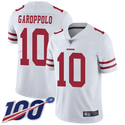 49ers #10 Jimmy Garoppolo White Men's Stitched Football 100th Season Vapor Limited Jersey