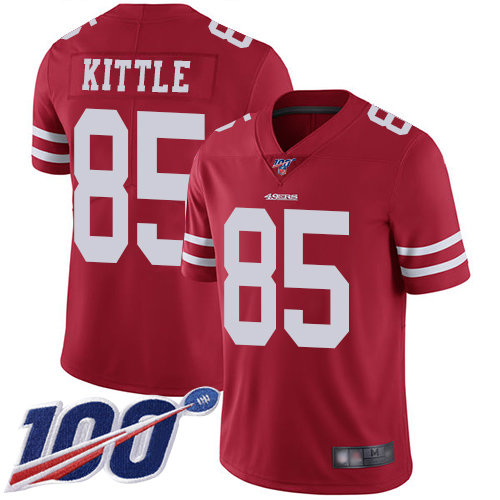 49ers #85 George Kittle Red Team Color Men's Stitched Football 100th Season Vapor Limited Jersey
