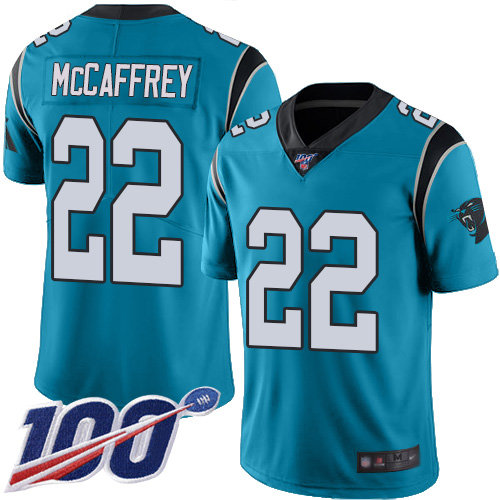 Panthers #22 Christian McCaffrey Blue Men's Stitched Football Limited Rush 100th Season Jersey