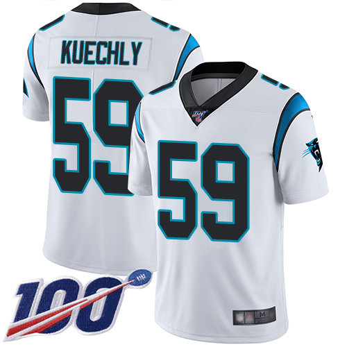 Panthers #59 Luke Kuechly White Men's Stitched Football 100th Season Vapor Limited Jersey