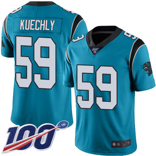 Panthers #59 Luke Kuechly Blue Alternate Men's Stitched Football 100th Season Vapor Limited Jersey