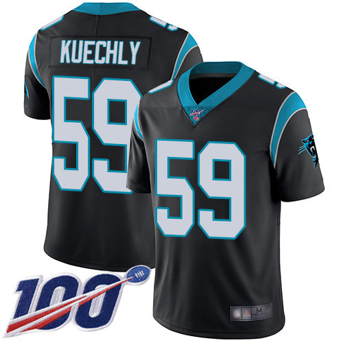 Panthers #59 Luke Kuechly Black Team Color Men's Stitched Football 100th Season Vapor Limited Jersey