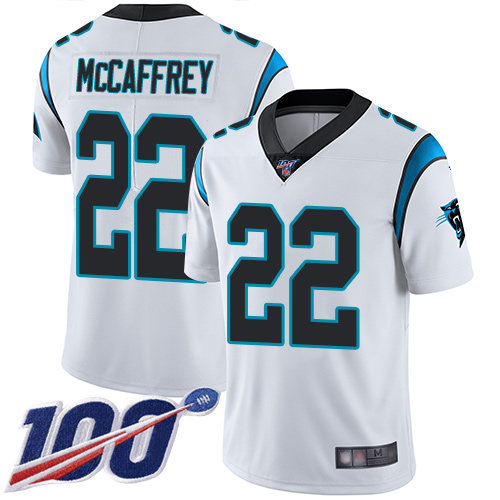 Panthers #22 Christian McCaffrey White Men's Stitched Football 100th Season Vapor Limited Jersey