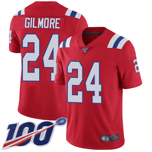 Patriots #24 Stephon Gilmore Red Alternate Men's Stitched Football 100th Season Vapor Limited Jersey