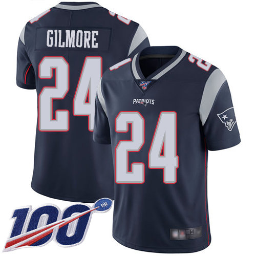 Patriots #24 Stephon Gilmore Navy Blue Team Color Men's Stitched Football 100th Season Vapor Limited Jersey