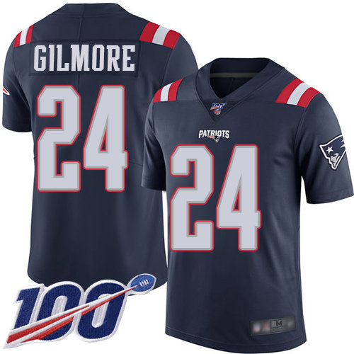 Patriots #24 Stephon Gilmore Navy Blue Men's Stitched Football Limited Rush 100th Season Jersey