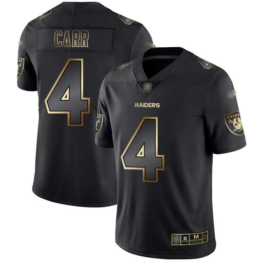 Raiders #4 Derek Carr Black Gold Men's Stitched Football Vapor Untouchable Limited Jersey