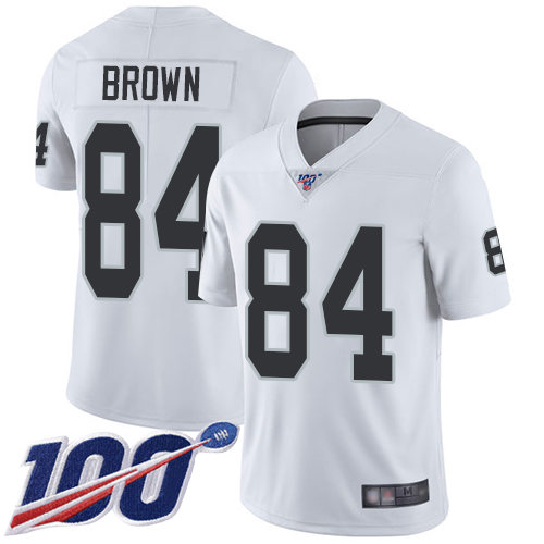 Raiders #84 Antonio Brown White Men's Stitched Football 100th Season Vapor Limited Jersey