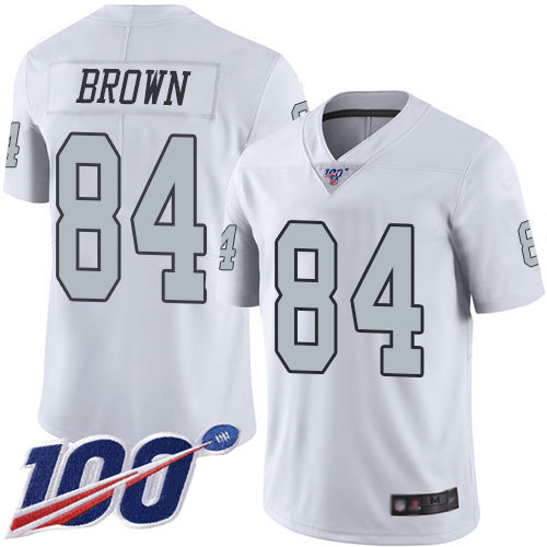 Raiders #84 Antonio Brown White Men's Stitched Football Limited Rush 100th Season Jersey