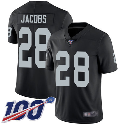 Raiders #28 Josh Jacobs Black Team Color Men's Stitched Football 100th Season Vapor Limited Jersey