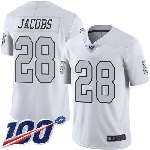 Raiders #28 Josh Jacobs White Men's Stitched Football Limited Rush 100th Season Jersey