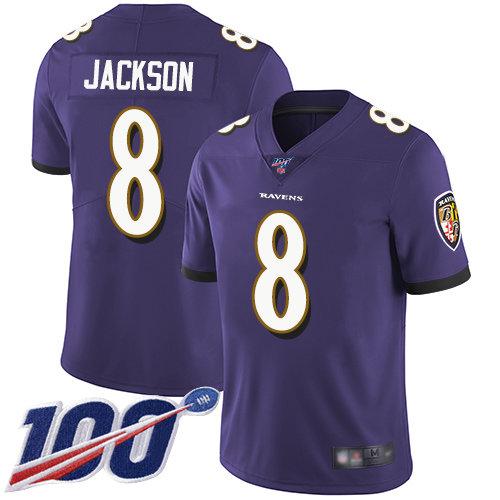 Ravens #8 Lamar Jackson Purple Team Color Men's Stitched Football 100th Season Vapor Limited Jersey