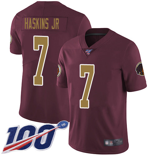 Redskins #7 Dwayne Haskins Jr Burgundy Red Alternate Men's Stitched Football 100th Season Vapor Limited Jersey