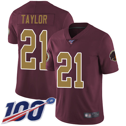 Redskins #21 Sean Taylor Burgundy Red Alternate Men's Stitched Football 100th Season Vapor Limited Jersey