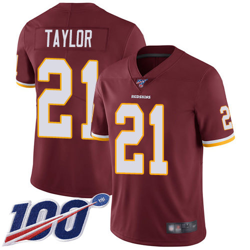 Redskins #21 Sean Taylor Burgundy Red Team Color Men's Stitched Football 100th Season Vapor Limited Jersey